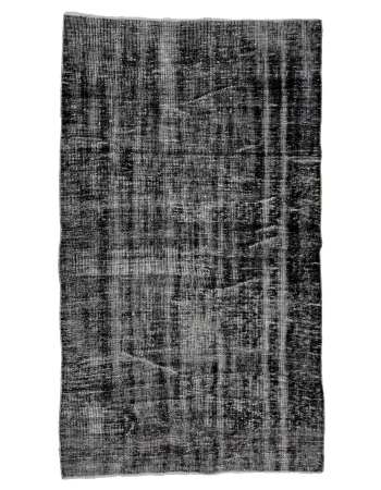 "Vintage Dark Gray Overdyed Carpet - 4`6"" x 7`9"""