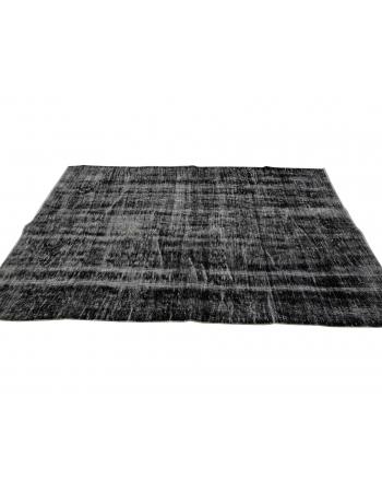 "Vintage Dark Gray Overdyed Carpet - 4`6"" x 7`9"""