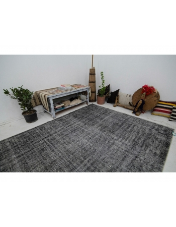 "Gray Overdyed Vintage Turkish Carpet - 5`11"" x 8`11"""