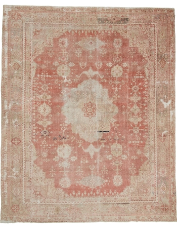 "Oversized Vintage Distressed Turkish Oushak Rug - 12`0"" x 15`1"""
