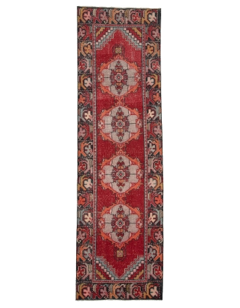 "Vintage Red Turkish Runner Rug - 2`10"" x 9`5"""