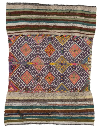 "Vintage Small Decorative Kilim Rug - 4`7"" x 6`3"""