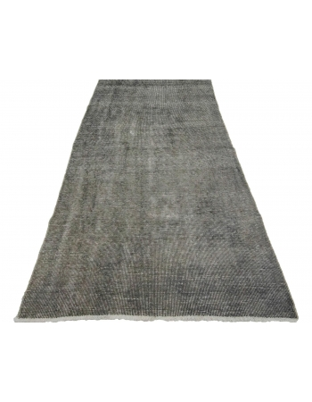 "Vintage Gray Turkish Ovedyed Rug - 3`8"" x 7`1"""