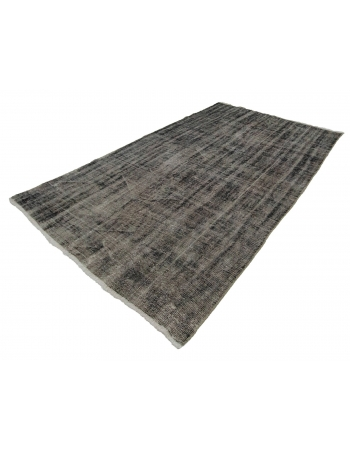 "Gray Overdyed Vintage Turkish Carpet - 5`7"" x 8`10"""