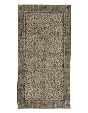 "Vintage Neutral Turkish Carpet - 3`5"" x 6`8"""