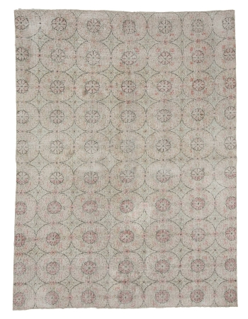 "Floral Vintage Turkish Area Rug - 6`7"" x 9`1"""