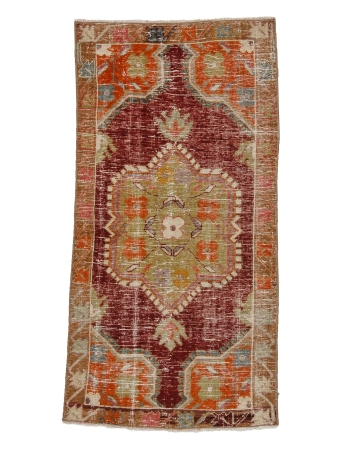 "Vintage Worn Decorative Oushak Rug - 2`6"" x 4`10"""