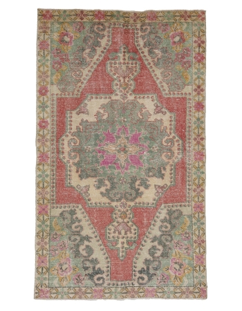 "Vintage Decorative Turkish Rug - 3`11"" x 6`9"""