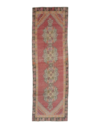 "Vintage Worn Turkish Runner Rug - 2`8"" x 9`0"""