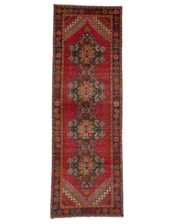 "Red Vintage Worn Turkish Runner Rug - 3`1"" x 9`1"""