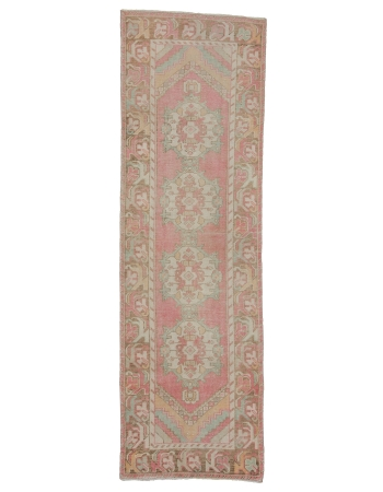 "Washed Out Vintage Turkish Runner Rug - 2`9"" x 9`0"""