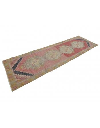"""Vintage Worn Decorative Turkish Runner - 2`11"""" x 9`2"""""""