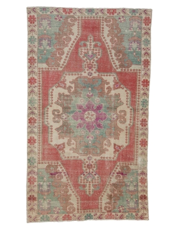 "1960's Vintage Decorative Turkish Rug - 4`1"" x 7`1"""