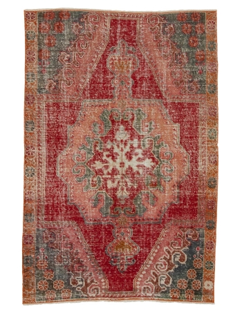 "Distressed Vintage Decorative Turkish Rug - 4`4"" x 6`8"""