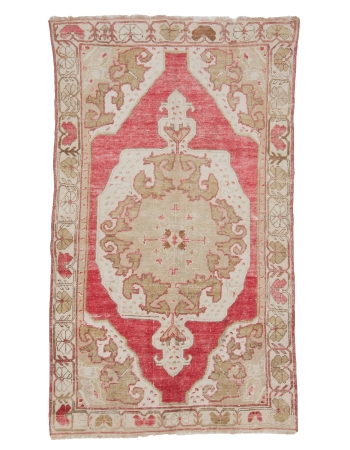 "Washed Out Vintage Turkish Carpet - 4`2"" x 6`11"""