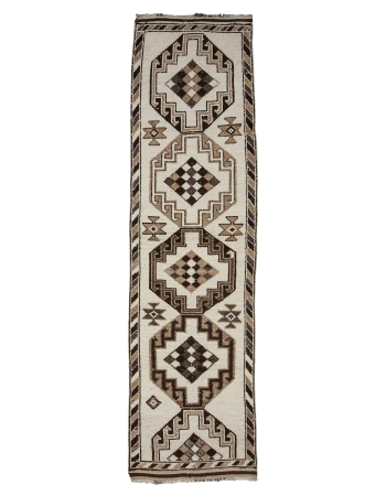"Brown & White Wool Vintage Runner - 3`2"" x 12`6"""