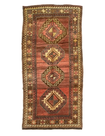 "Vintage Turkish Wool Kars Rug - 5`7"" x 11`10"""