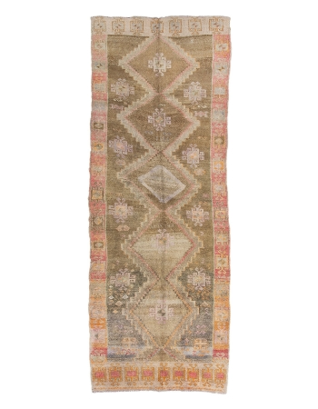 "Vintage Washed Out Turkish Kars Rug - 5`11"" x 15`9"""