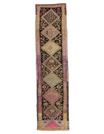 "Vintage Unique Turkish Kars Runner Rug - 3`10"" x 15`6"""