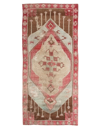 "Oversized Unique Turkish Kars Wool Rug - 6`10"" x 15`8"""