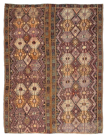 "Oversized Vintage Turkish Kars Kilim Rug - 10`10"" x 15`1"""