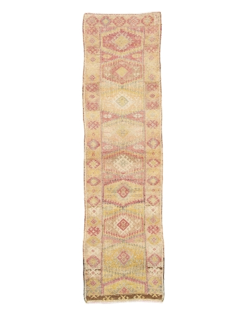 "Faded Vintage Decorative Herki Runner - 2`11"" x 10`2"""