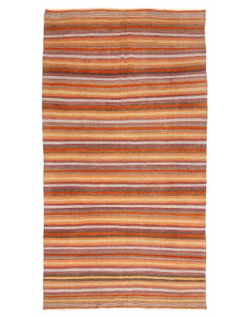 "Striped Vintage Colorful Kilim Rug - 5`9"" x 10`8"""