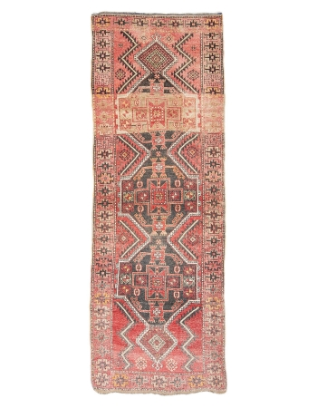 "Unique Vintage Turkish Wool Runner - 3`5"" x 9`9"""