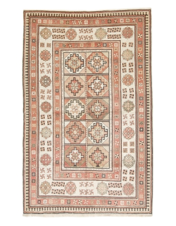 "Decorative Vintage Turkish Milas Rug - 4`5"" x 6`11"""