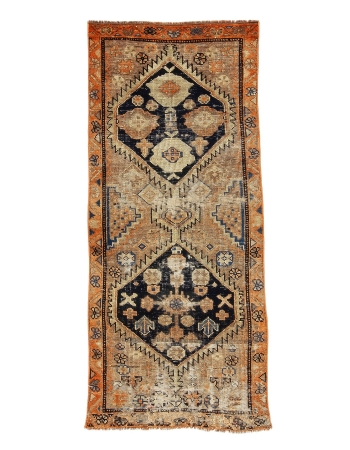 "Distressed Antique Herki Rug - 2`11"" x 6`9"""