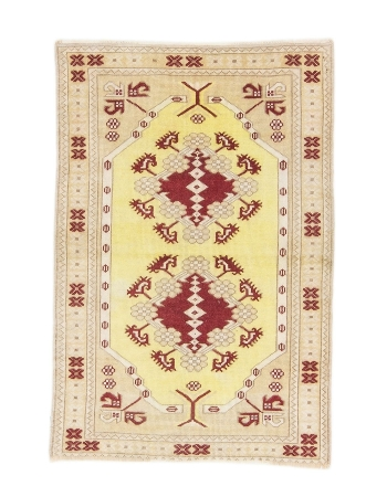 "One Of a Kind Vintage Turkish Milas Rug - 2`11"" x 4`3"""