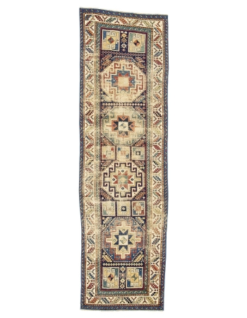 "Antique Distressed Caucasian Runner Rug - 3`1"" x 10`3"""