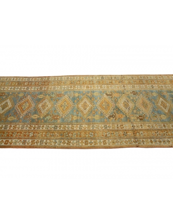 "Antique Washed Out Persian Runner Rug - 3`10"" x 17`5"""