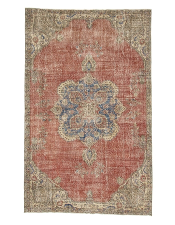 "Distressed Vintage Turkish Oushak Rug - 6`8"" x 10`8"""