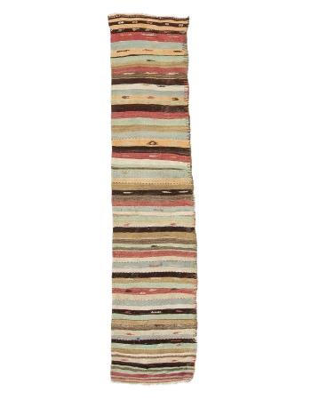 "Striped Vintage Kilim Runner Rug - 2`4"" x 10`10"""