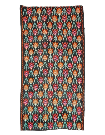 "Colorful Unique Vintage Turkish Kilim Rug - 5`8"" x 10`6"""