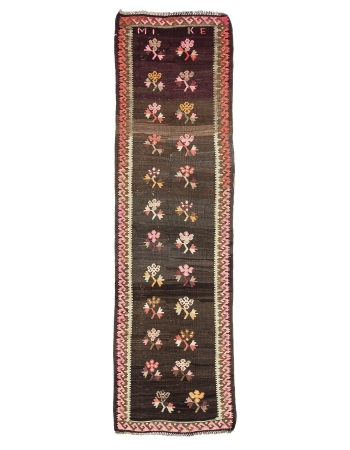 "Vintage Decorative Turkish Kilim Runner Rug - 3`2"" x 11`1"""