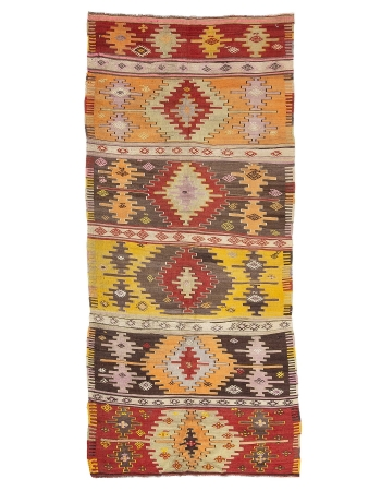"1960's Vintage Turkish Kilim Rug - 5`3"" x 11`6"""
