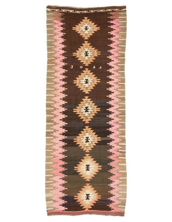 "Vintage Unique Decorative Turkish Kilim Rug - 4`9"" x 11`11"""