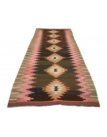 "Vintage Unique Decorative Turkish Kilim Rug - 4`9"" x 11`11"""