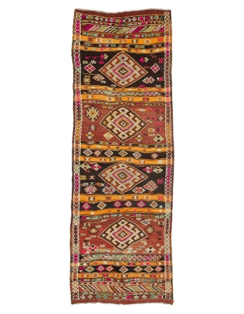 "Vintage Embroidered Wide Turkish Kilim Runner - 4`1"" x 11`8"""