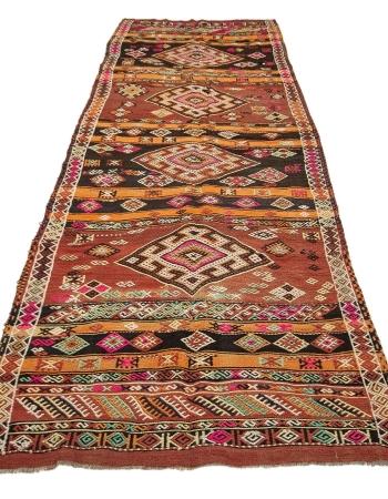 "Vintage Embroidered Wide Turkish Kilim Runner - 4`1"" x 11`8"""