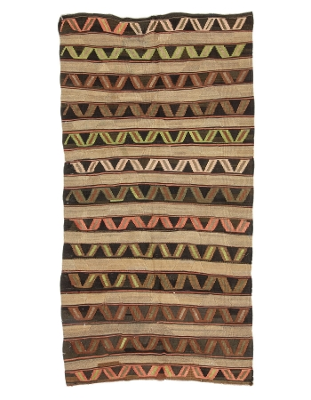 "Vintage Decorative Turkish Kars Kilim Rug - 5`3"" x 10`2"""