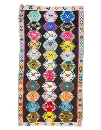 "Colorful Unique Vintage Turkish Kars Kilim Rug - 5`7"" x 11`1"""