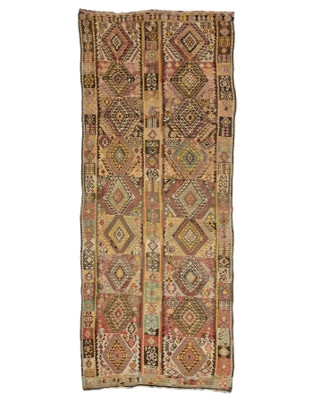 """Vintage Turkish Wool Kars Kilim Rug - 4`8"""" x 12`7"""""""