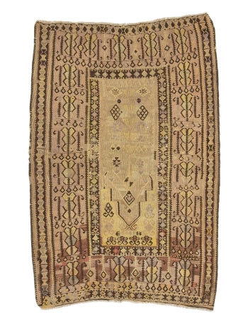 "Faded Vintage Turkish Prayer Kilim Rug - 4`10"" x 6`11"""