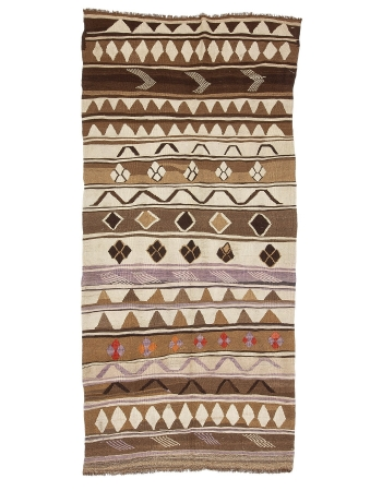 "Unique Brown Turkish Wool Kilim Rug - 5`3"" x 10`11"""