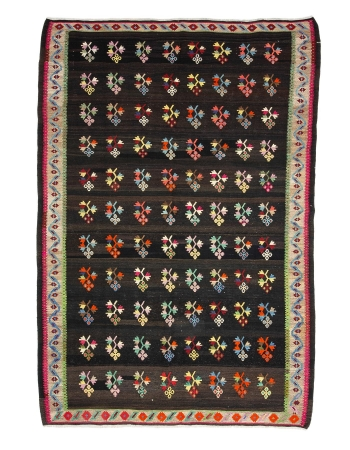 "One of  a Kind Vintage Turkish Kilim Rug - 7`1"" x 10`0"""