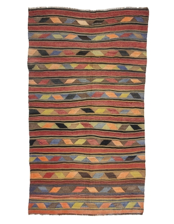 "Turkish Vintage Wool Kilim Rug - 5`7"" x 10`0"""