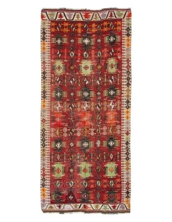 """Vintage Turkish Kayseri Kilim Rug - 4`11"""" x 10`8"""""""